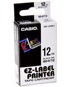 CASIO XR-12WE1 (Negro sobre Blanco) 12mm